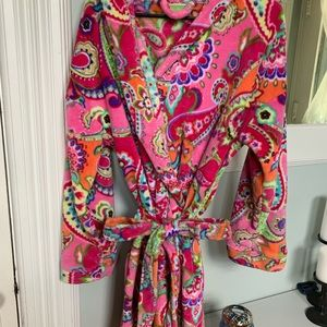 Vera Bradley Pink Paisley Hooded Fleece Robe